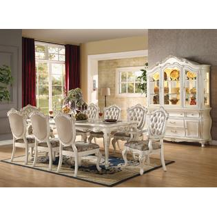antique white dining chairs fully adjustable ergonomic office chair sets room table kmart acme united chantelle pearl formal traditional 9pcs set furniture