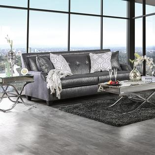 glam sofa set black leather pillows furniture of america massimo loveseat shined fabric modern up living room 2pc crytal tufts angle back couch made in usa