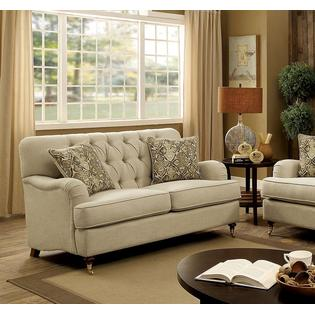 beige sofa set decorating with mint green furniture of america traditional classic loveseat 2pc tufted english arms unique legs solid wood living room
