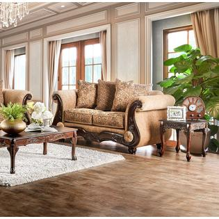 gold leather sofa set bobs review furniture of america traditional and bronze chenille 2pc loveseat