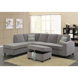sofa gray color black friday deals uk 2018 esofastore reversible sectional set w storage ottoman cushioned back seat pillows living room furniture