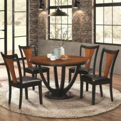 Black Kitchen Table And Chairs Cupboards For Sale Dining Sets Collections Sears Coaster Contemporary 5pc Set Butterfly Round Finish Cushion Seat