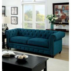 Teal Living Room Chair Wall Design For Philippines Furniture Of America Classic 2 Pcs Sofa Loveseat Dark Color Fabric Tufted Traditional Formal