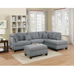 Tufted Linen Sectional Sofa Purple Velvet Furniture Village Couches Sears Esofastore Modern Living Room 3pcs Reversible L R Chaise Ottoman Gray