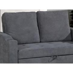 Modern Convertible Sofa With Pull Out Bed Right Arm Facing Left Chaise Esofastore Living Room Charcoal Polyfiber Tufted Comfort Plush Couch W