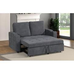 Modern Convertible Sofa With Pull Out Bed Berkline Leather Reclining Esofastore Living Room Charcoal Polyfiber Tufted Comfort Plush Couch W