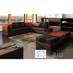 Black Modern Sofa Set Non Flame Ant Tosh Furniture Leather And Red Esofastore Contemporary Living Room Sectional Chaise Corner Cushion Couch Pillows Beautiful