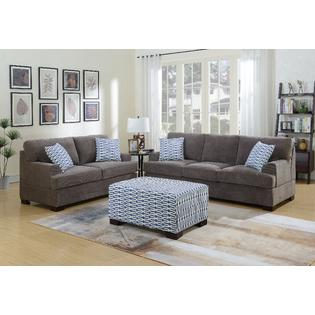 living room loveseat raymour and flanigan leather sets sofas couches sears hs furniture 2pc sofa set modern waffle suede charcoal color couch