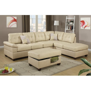 simmons reversible chaise sofa designer fabric singapore bonded leather sectional poundex 2 pc felicia collection khaki match with lounge