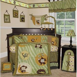 jungle monkey green 14 pcs crib bedding