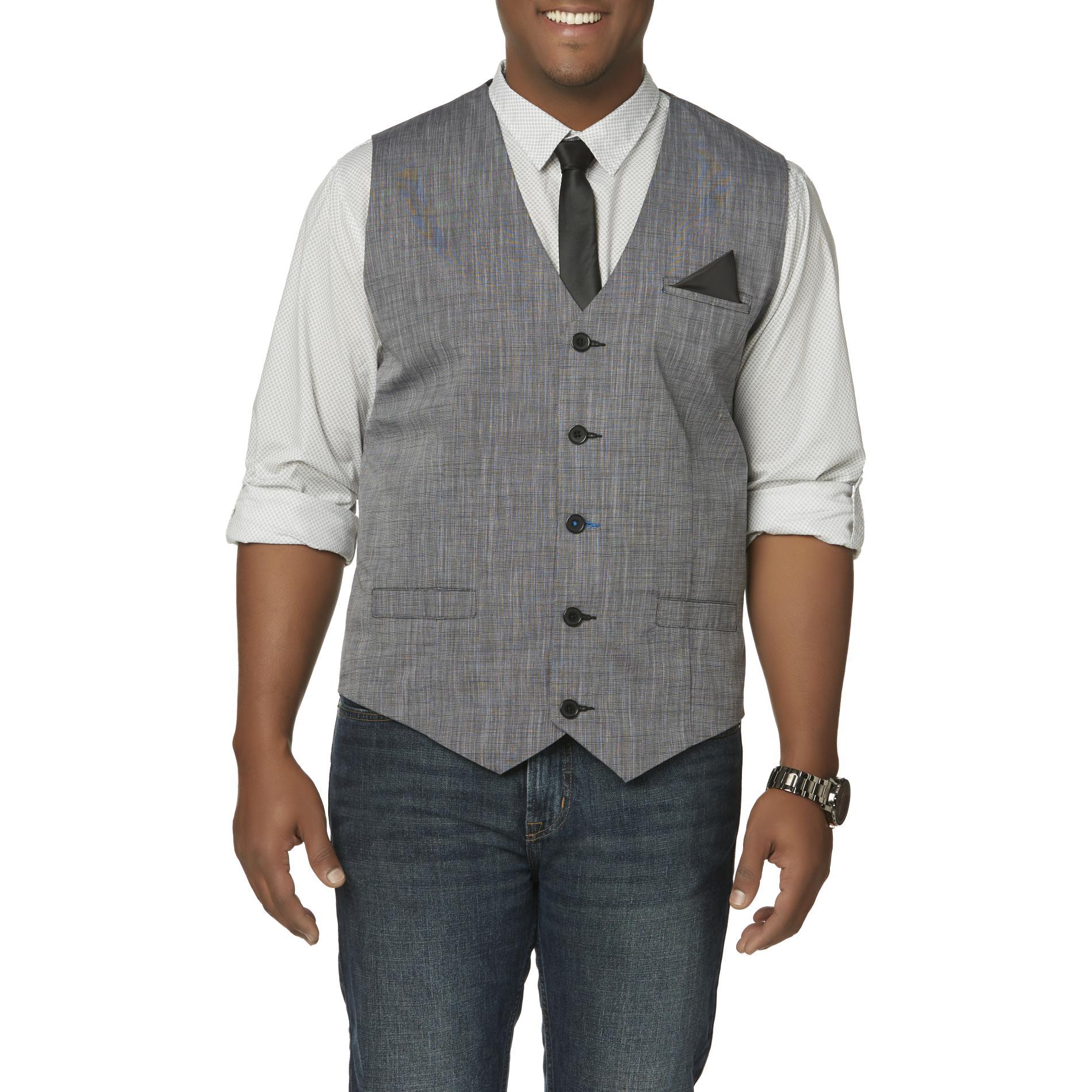 Attention Men' Big &tall Dress Shirt Vest & Necktie - Dots