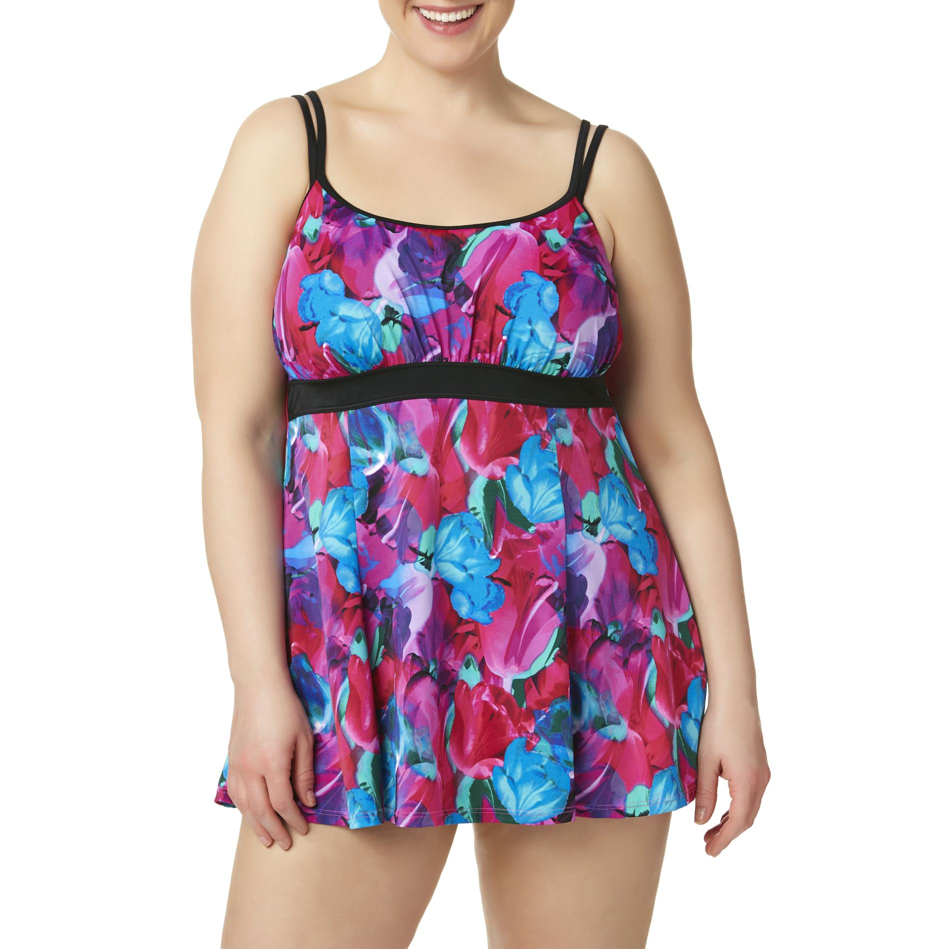 Fit4U Women39s Plus Swim Dress Floral