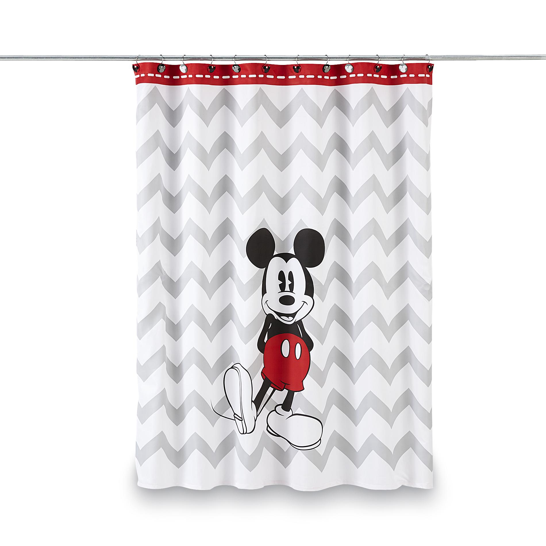 Disney Mickey Mouse Shower Curtain Chevron