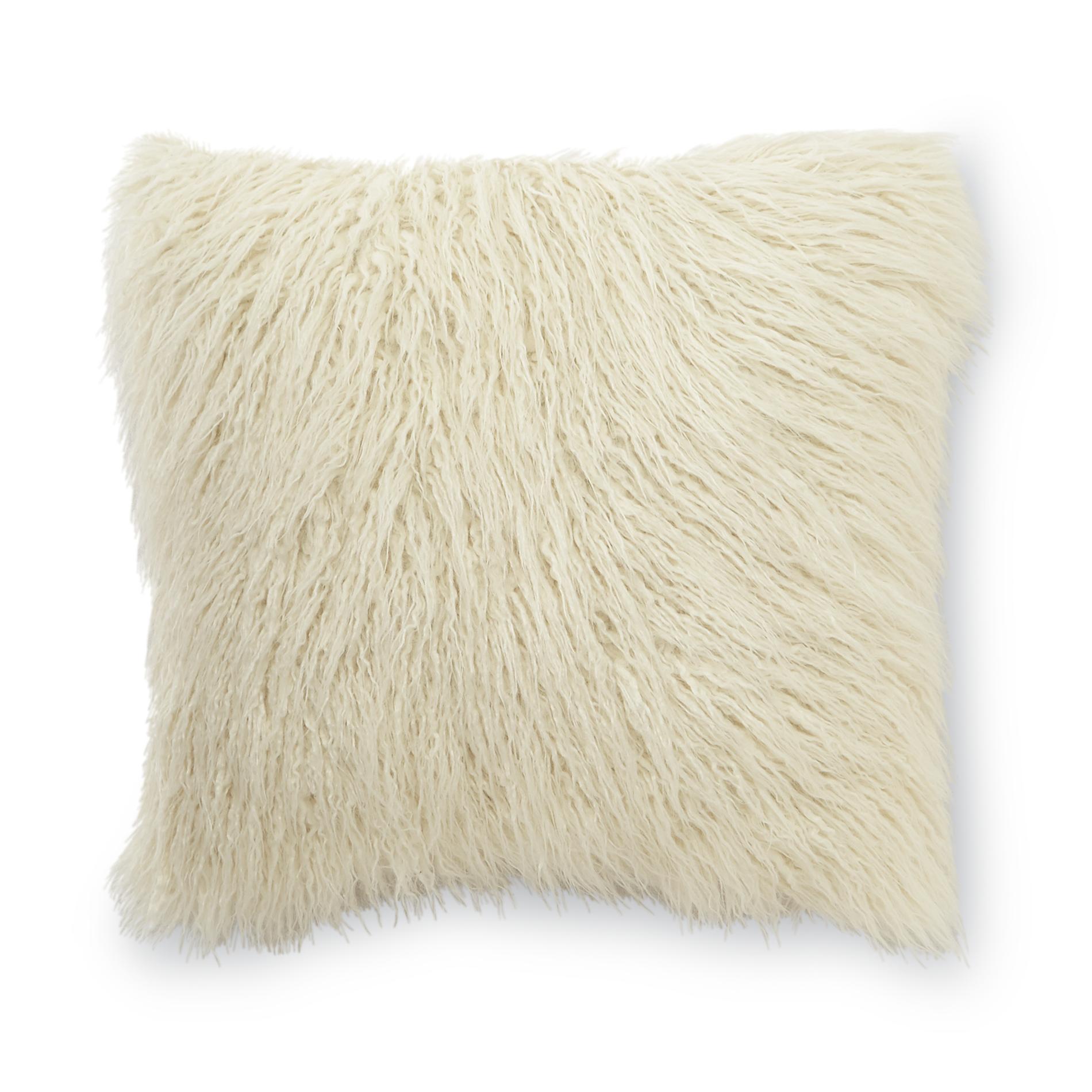 Essential Home Mongolian Faux Fur Square Decorative Pillow