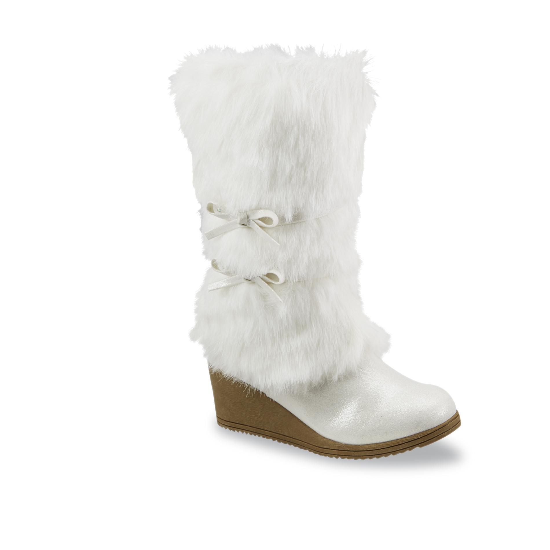 Piper Girls Rachelle White Faux Fur Wedge Boot