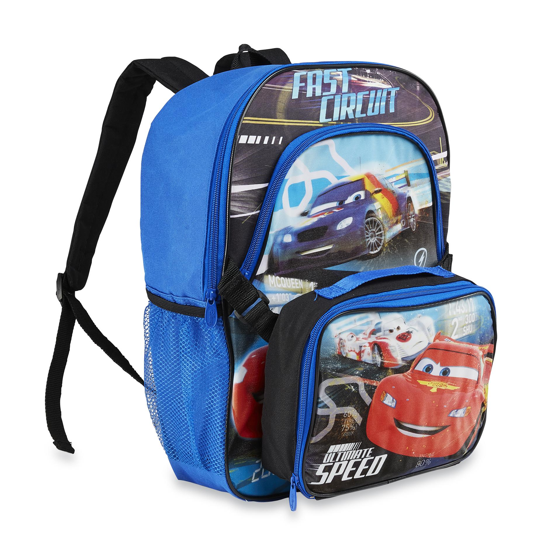 Disney Cars 2 Boy' Backpack & Lunch Bag - Lightning Mcqueen Home Luggage Travel Gear