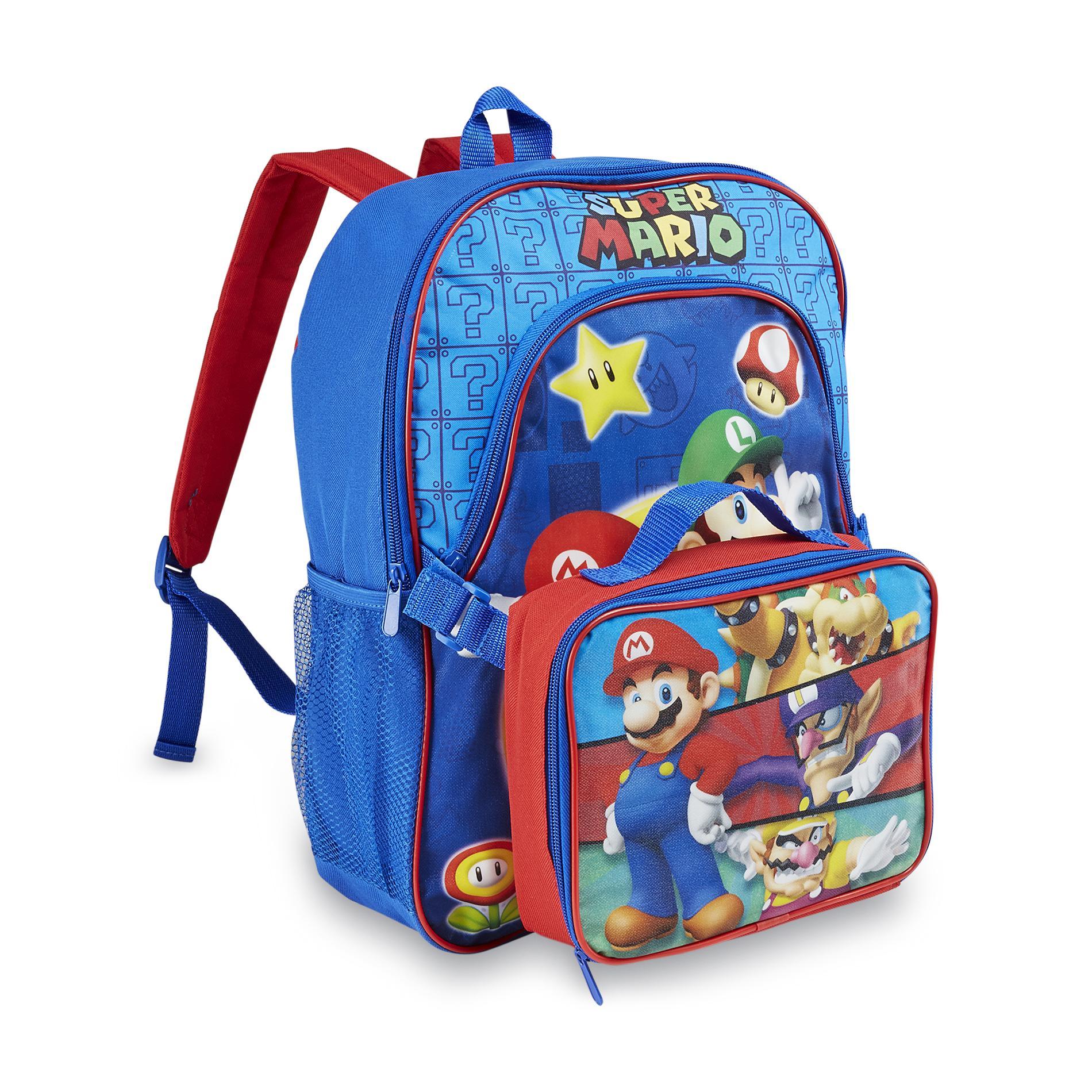 Nintendo Super Mario Bros Boys Backpack  Lunch Bag