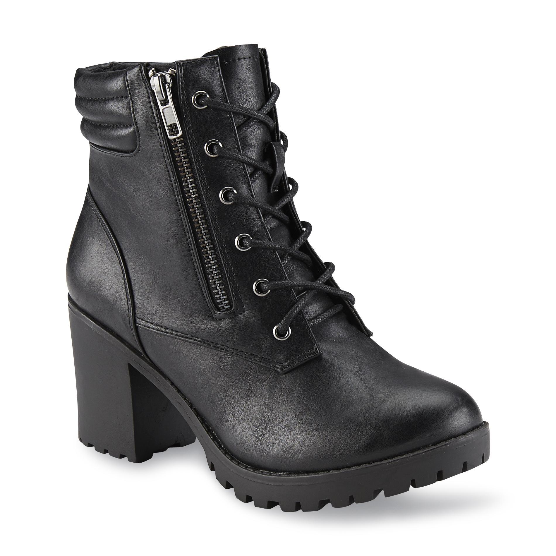 Bongo Women' Cali Black Platform Moto Boot - Shoes Boots
