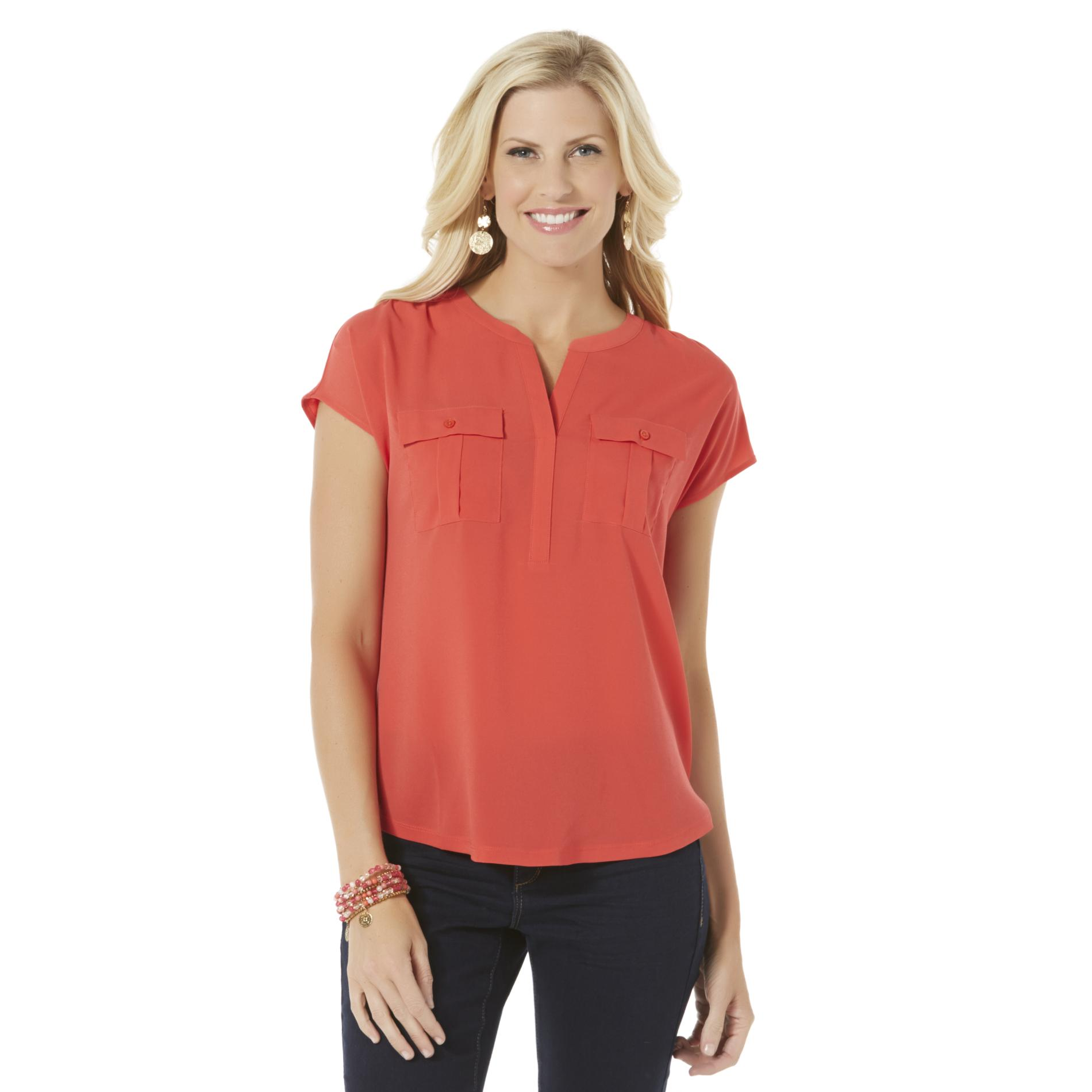 Jaclyn Smith Women39s YNeck Blouse Clothing Shoes