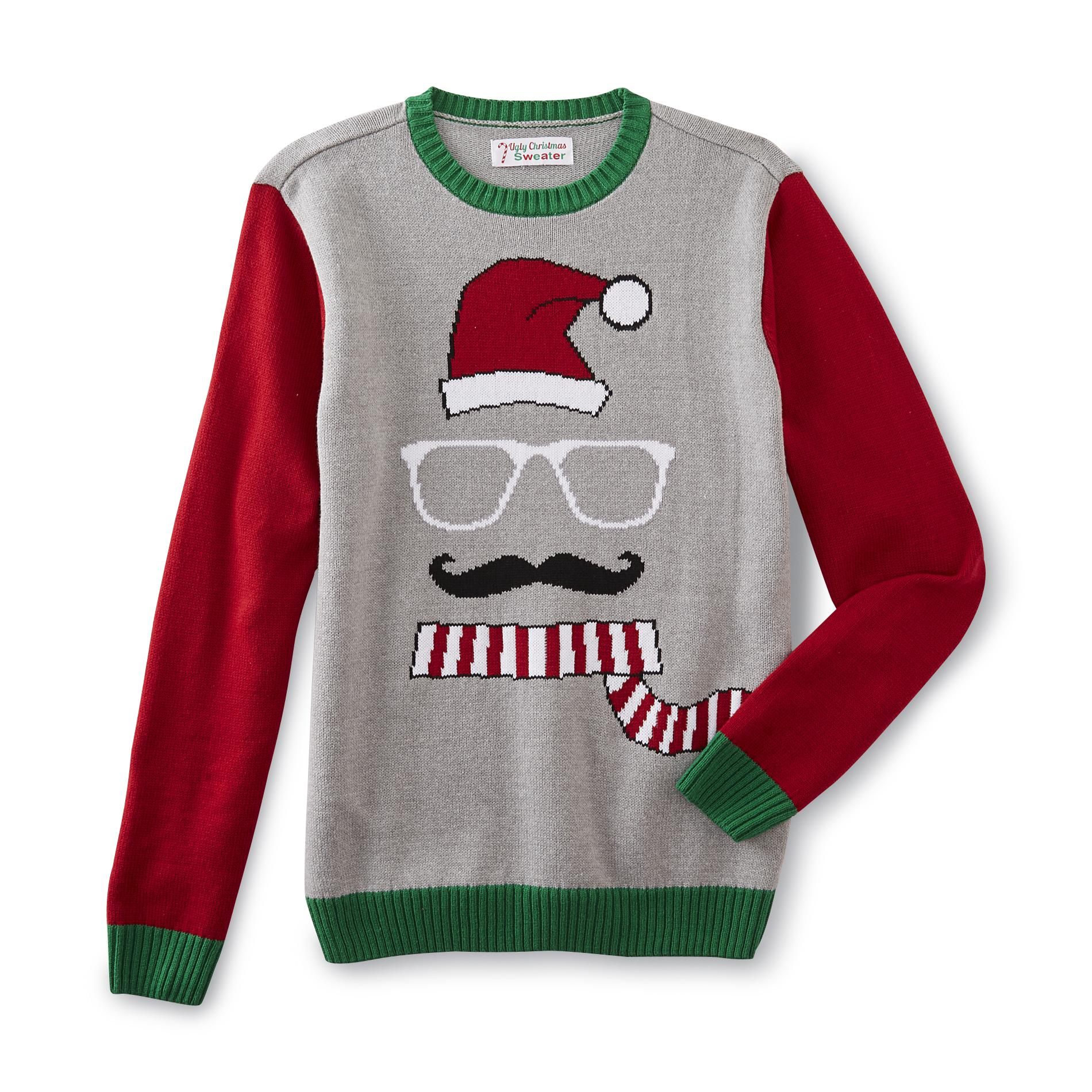 Mens Ugly Christmas Sweater Mustache
