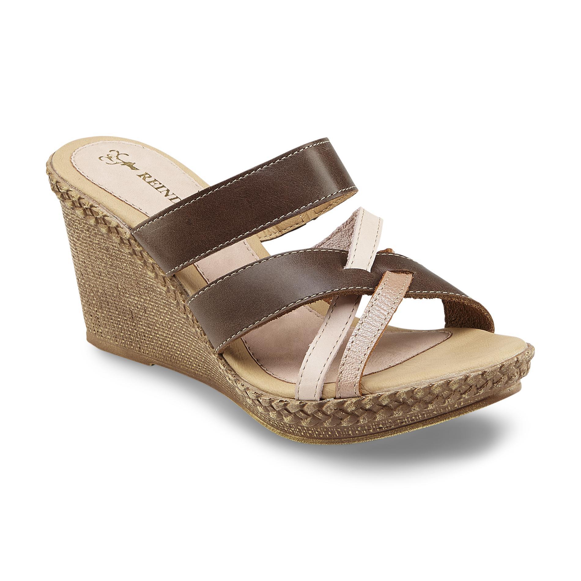 Reindeer Women' Manuela Brown Pink Leather Wedge Sandal - Shoes Sandals