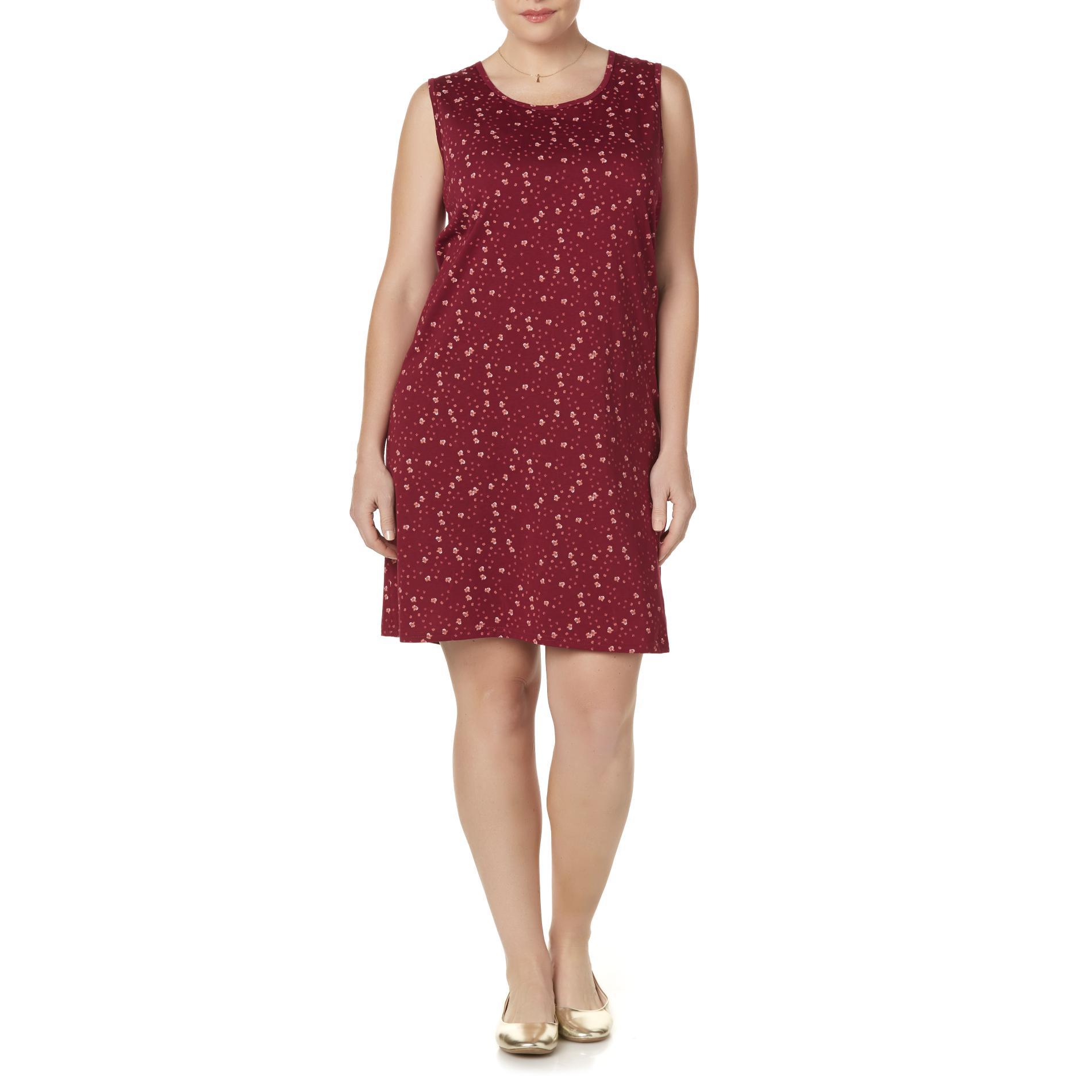 Basic Editions Women39s Plus Tank Dress Floral