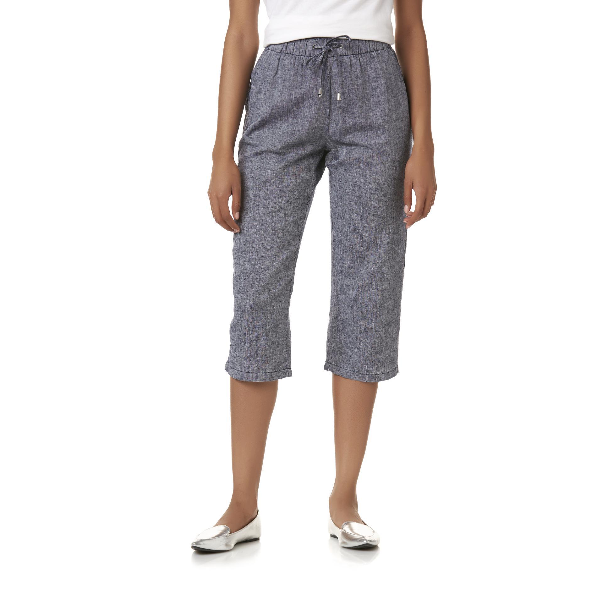 Basic Editions Women' Drawstring Capri Pants - Heathered