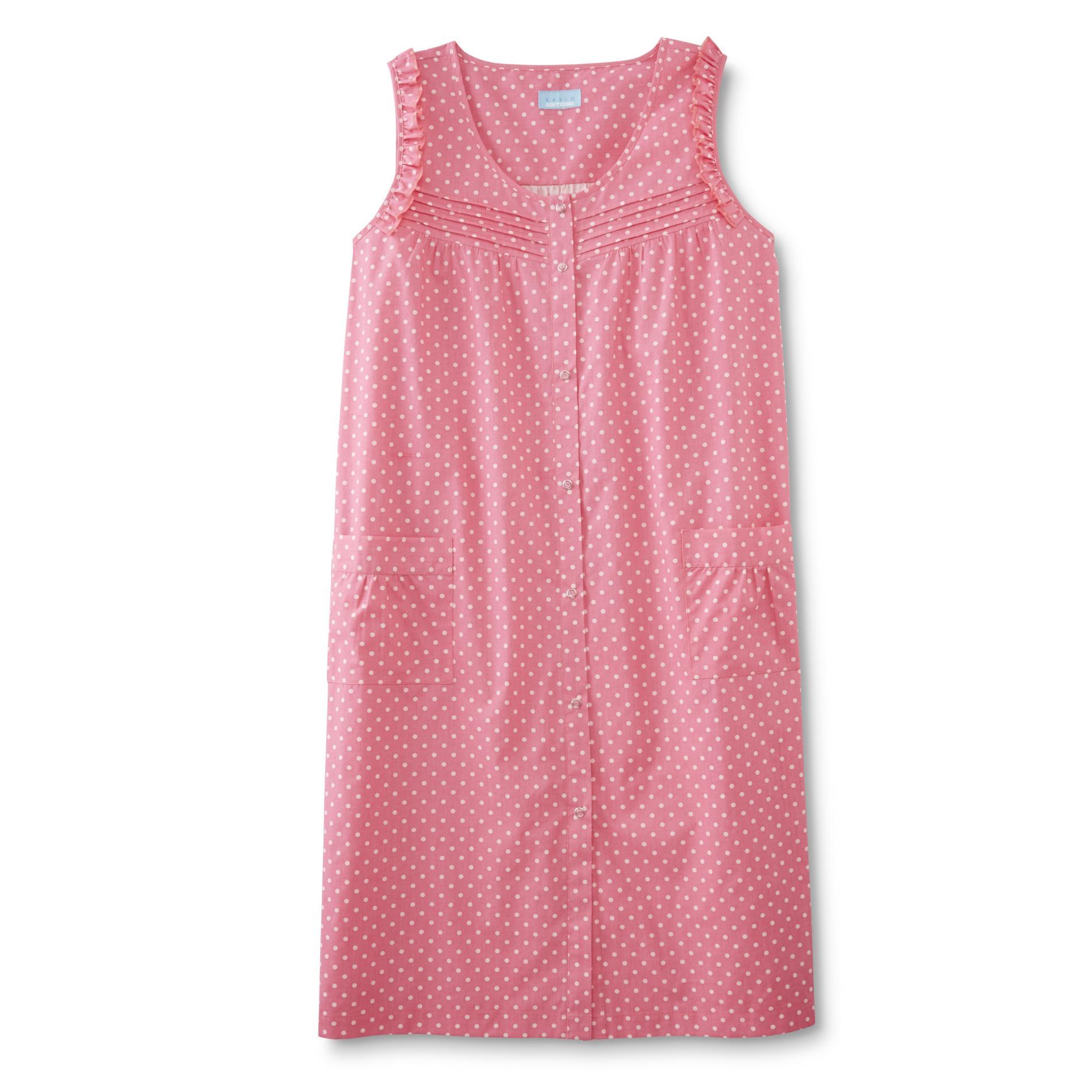 Basic Editions Women39s Plus Sleeveless Lounge Dress Dots