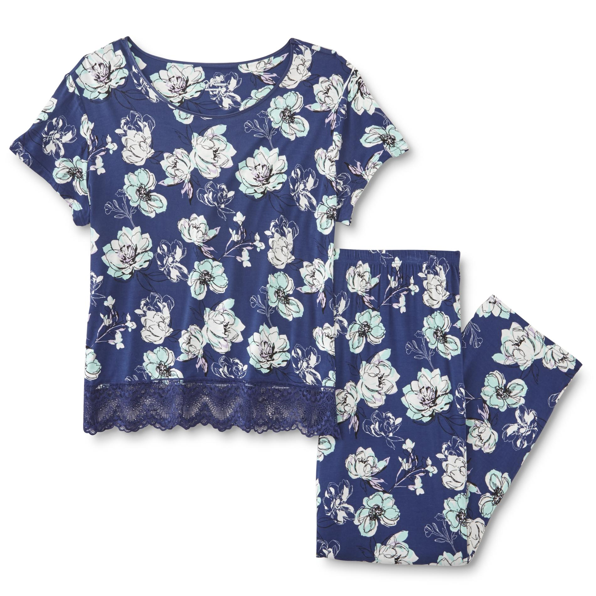 Jaclyn Smith Women' Knit Pajama Shirt & Pants - Floral