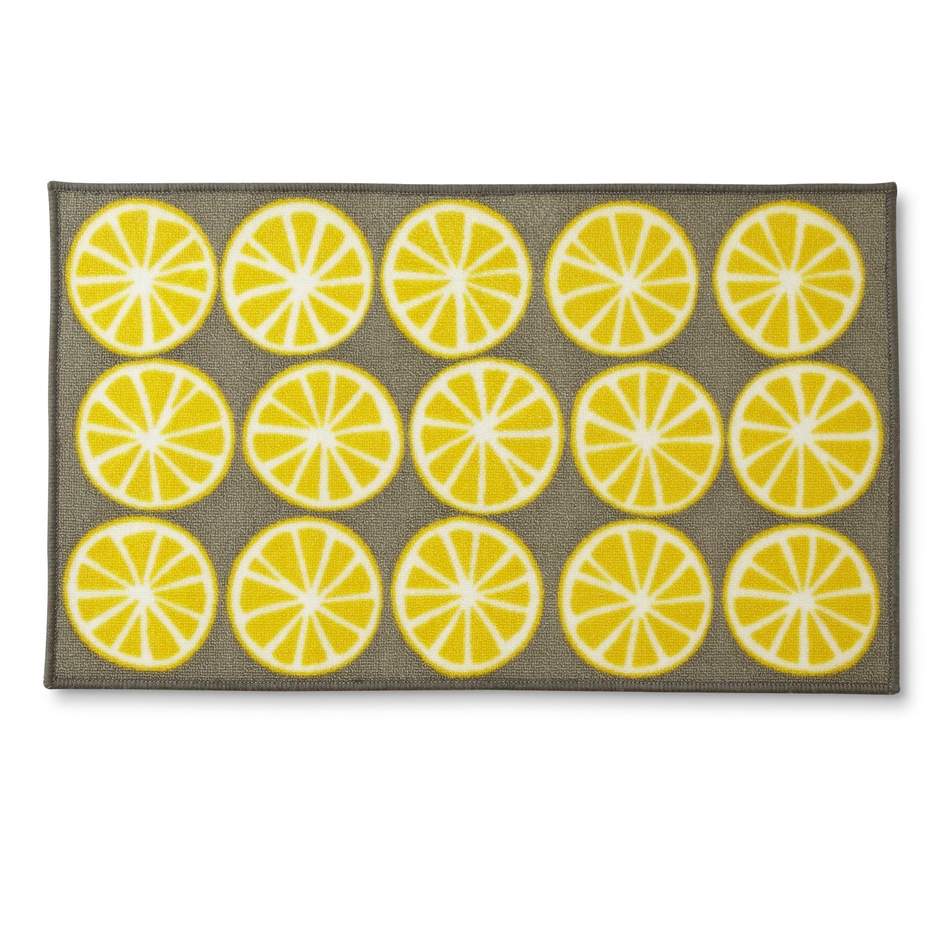 yellow kitchen rugs walmart aid mixer kmart allure rectangular rug lemons