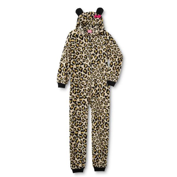 Joe Boxer Girls' Hooded Fleece Sleeper Pajamas - Leopard