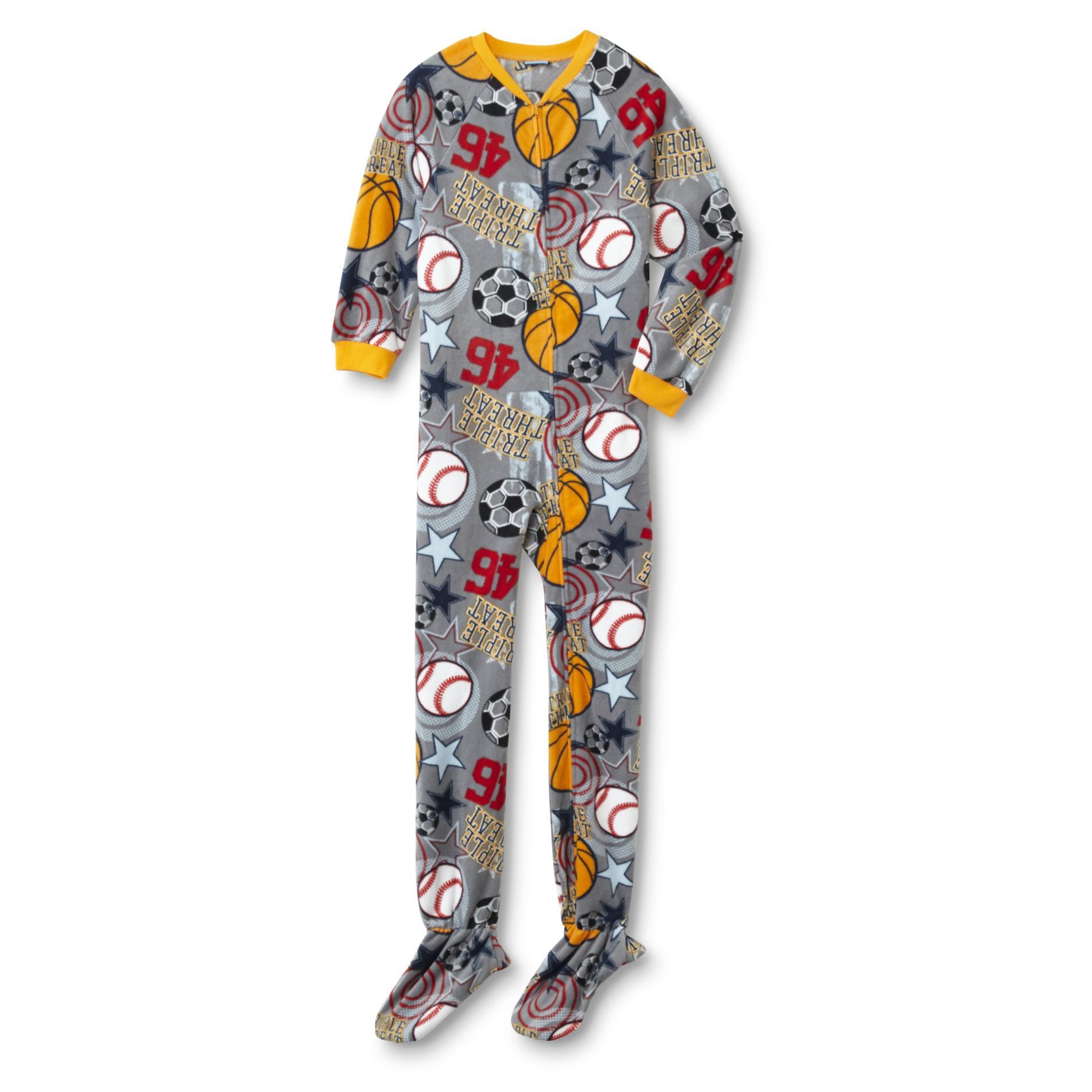 Joe Boxer Boys' Fleece Footed Pajamas - Sports
