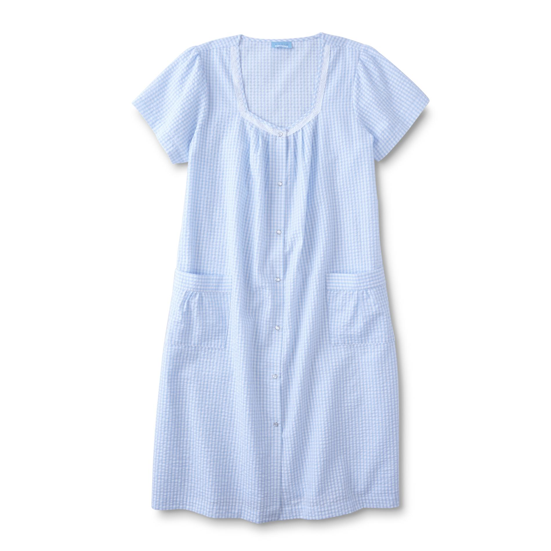 Basic Editions Women39s Plus Seersucker Lounge Dress Gingham