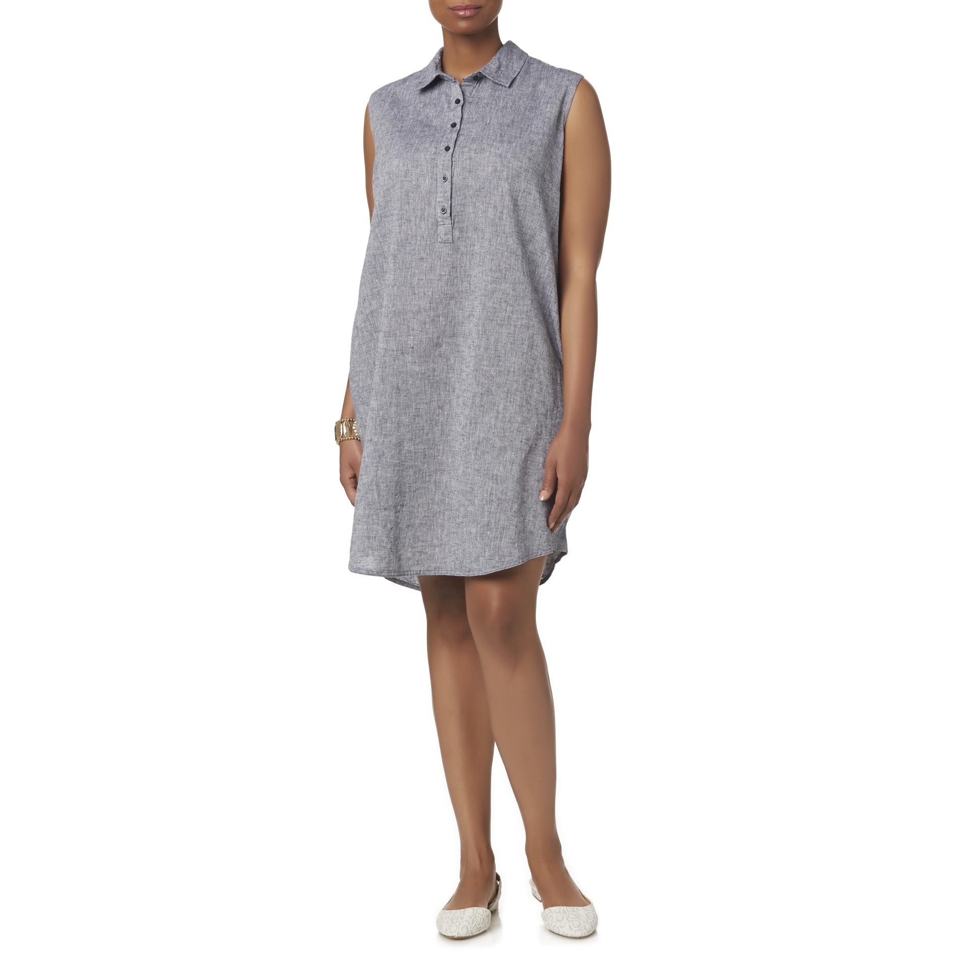 Basic Editions Women39s Plus Sleeveless Shirt Dress Kmart