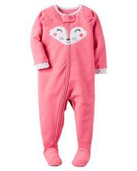 Carter's Infant & Toddler Girls' Fleece Footed Pajamas - Fox