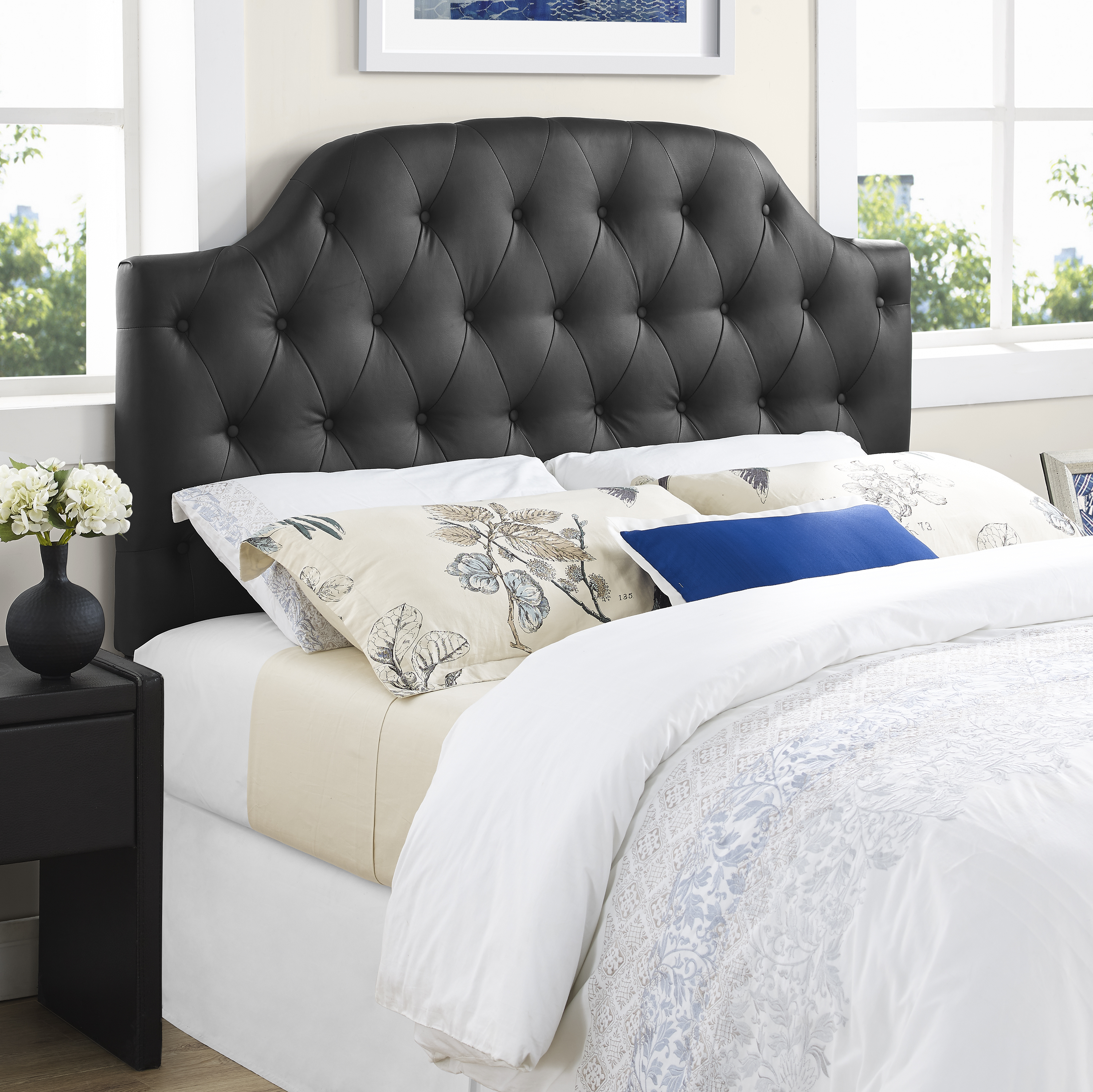 Dorel Lyric Button Tufted Faux Leather Headboard Multiple Sizes & Colors