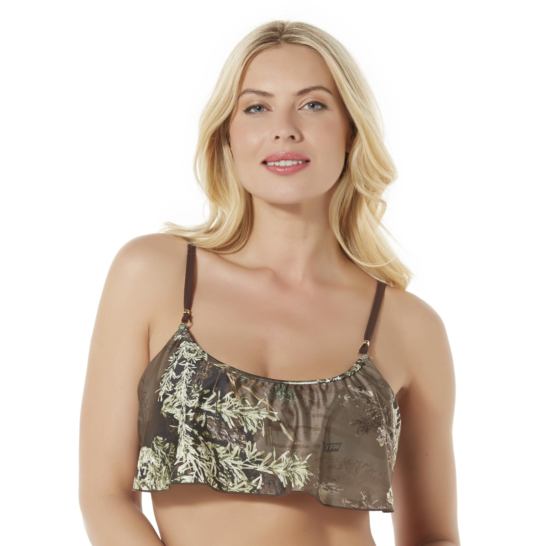 Realtree Women' Convertible Flounce Bikini Swim Top