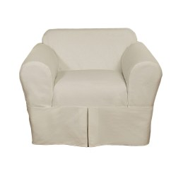 White Cotton Wing Chair Slipcover Swivel Homebase Sure Fit Duck In Natural As Is