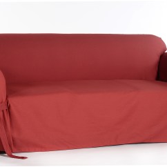 Durham One Piece Sofa Slipcover Ashley Red Classic Slipcovers Cotton Duck