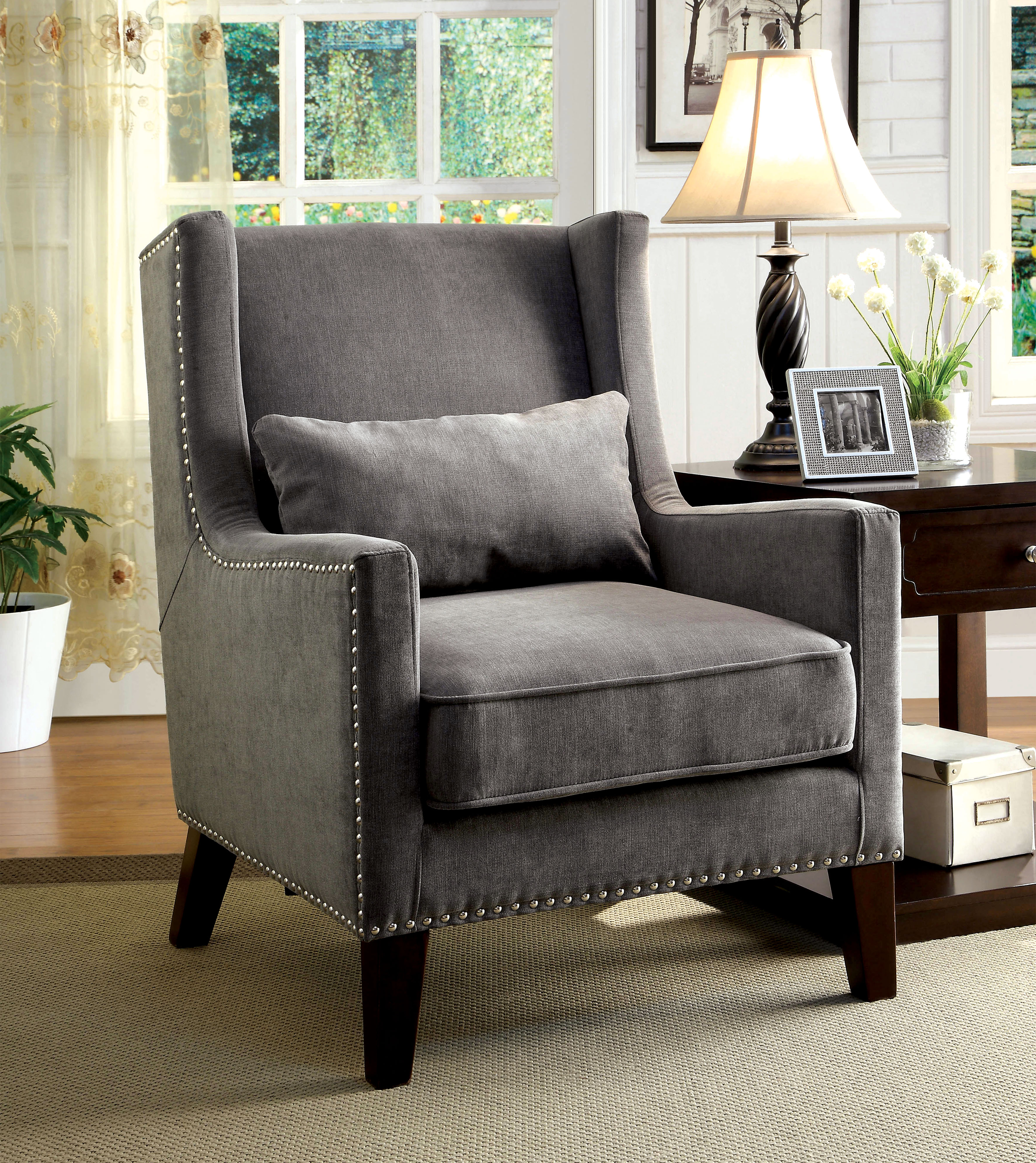 accent wingback chairs theater with cup holders furniture of america relia high chair