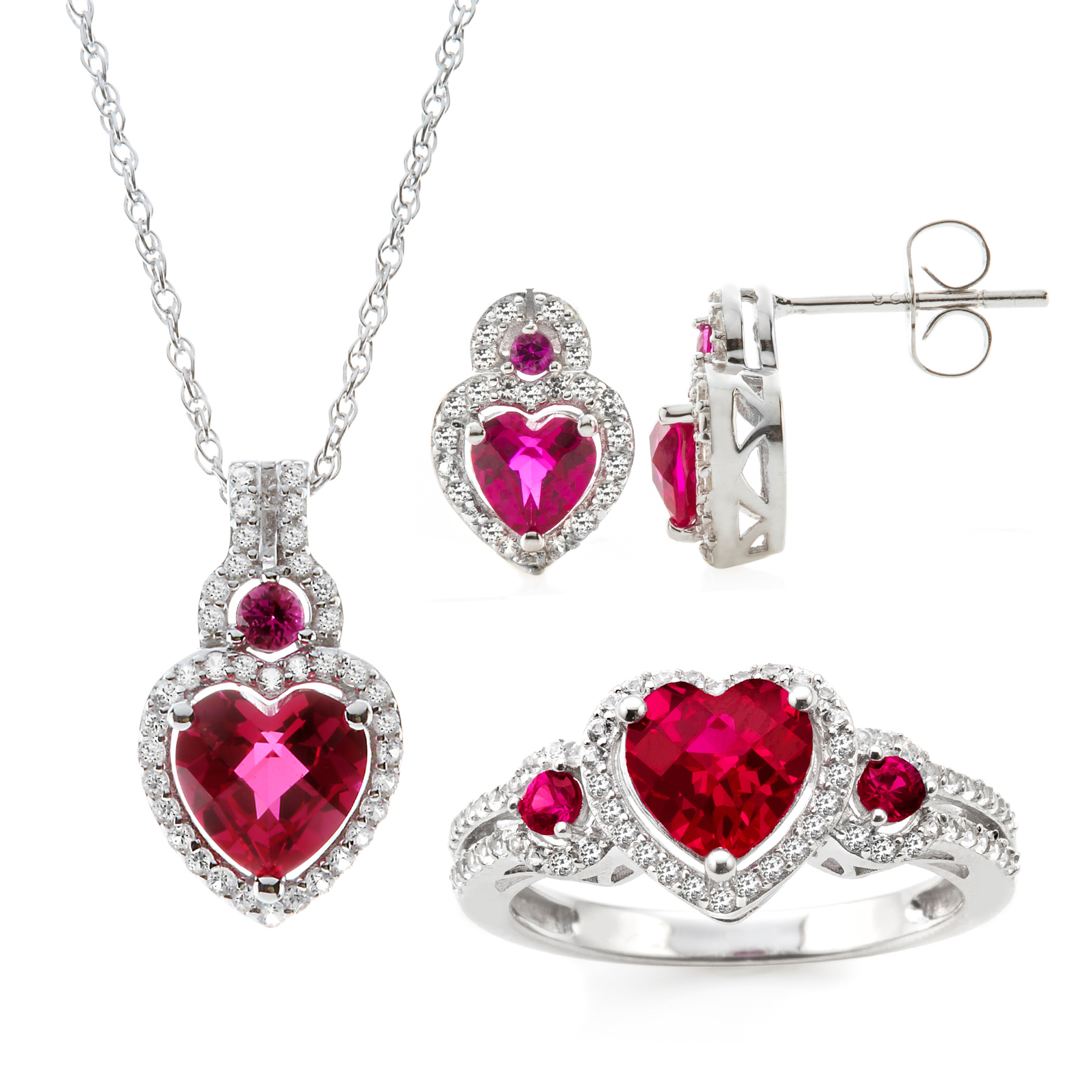 3 Piece Sterling Silver Lab Created Ruby Earring Pendant