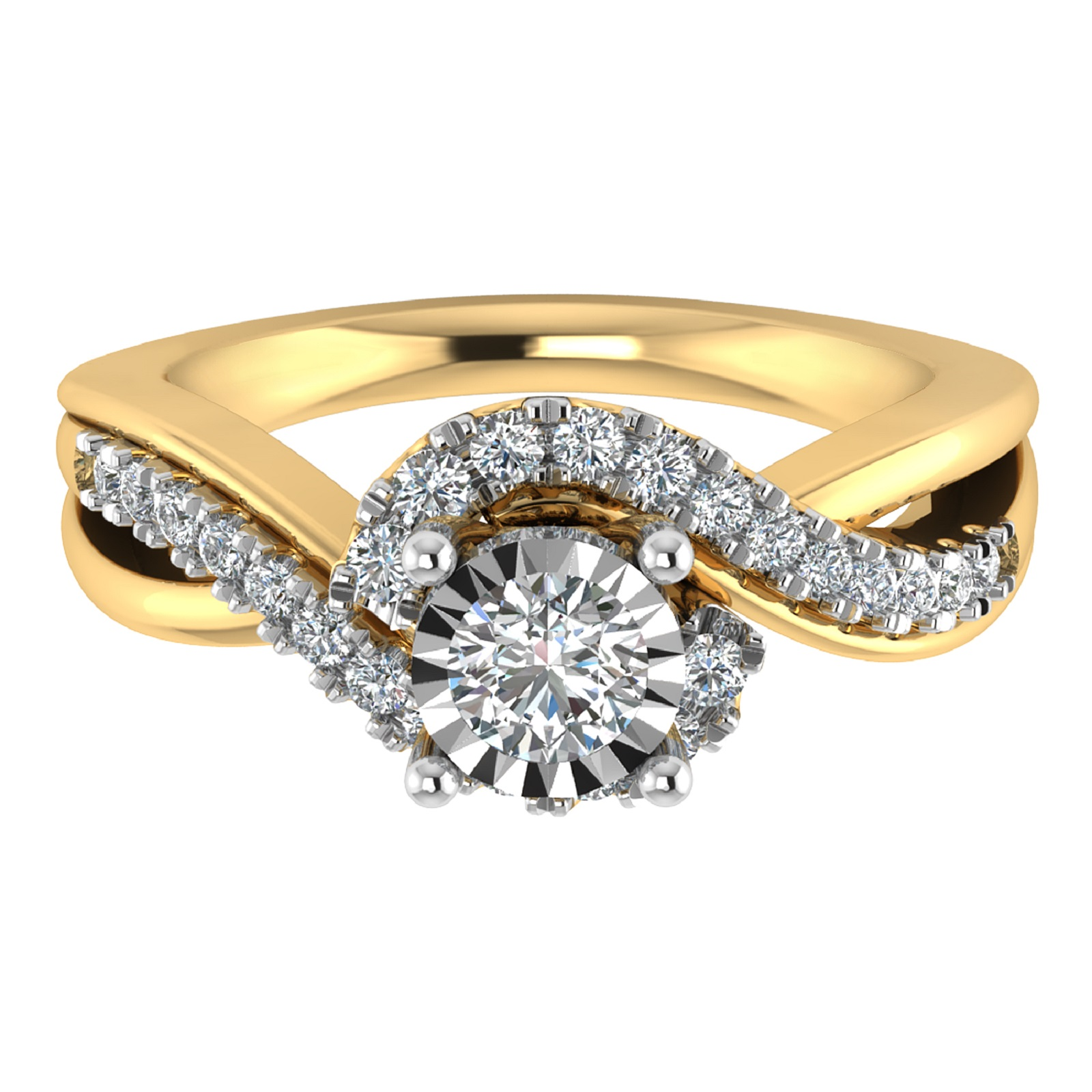 Tru Miracle 10k Yellow Gold Bridal 1 2 Cttw Diamond Engagement Ring