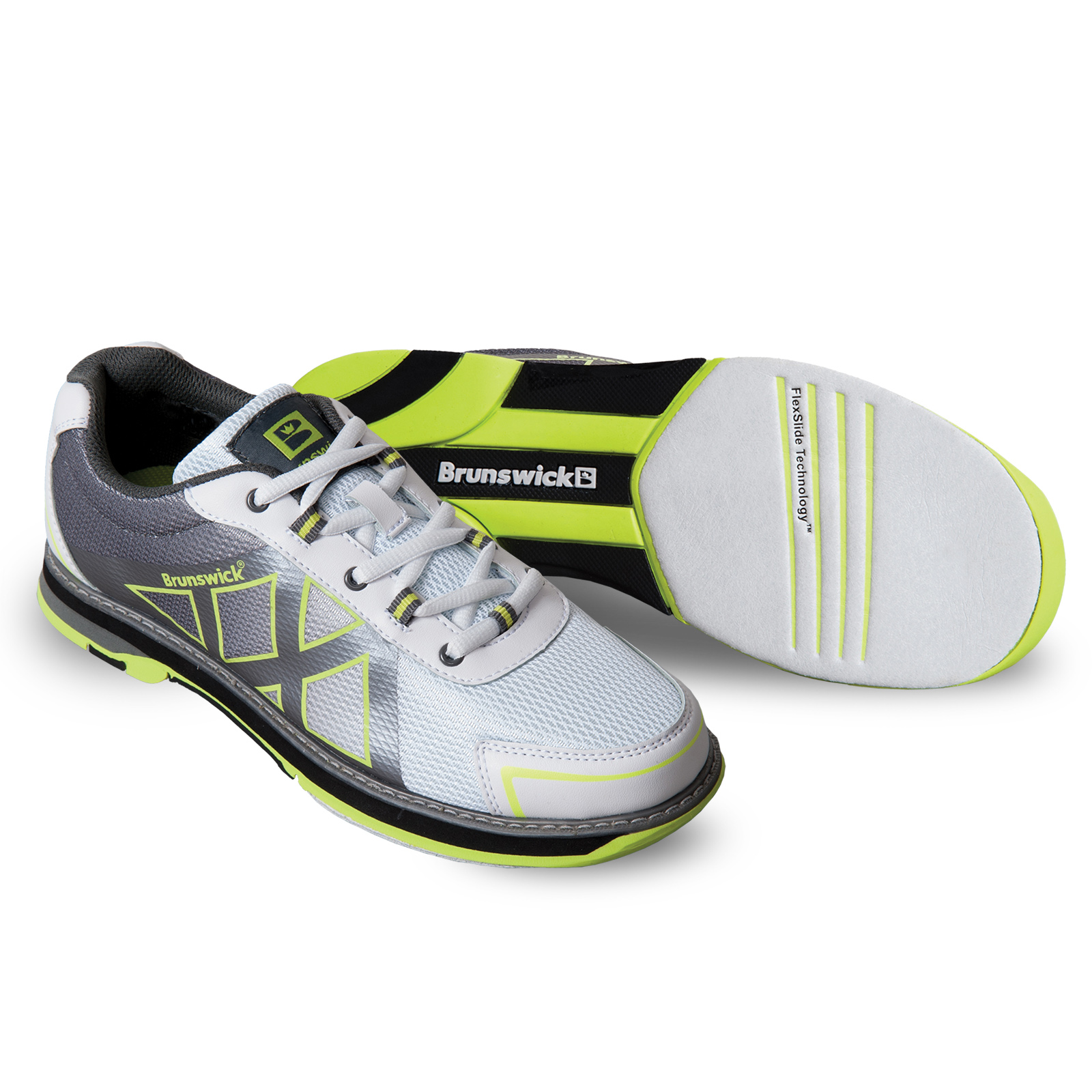 Brunswick Womens Kross White Grey Yellow - Fitness & Sports Team Bowling Shoes