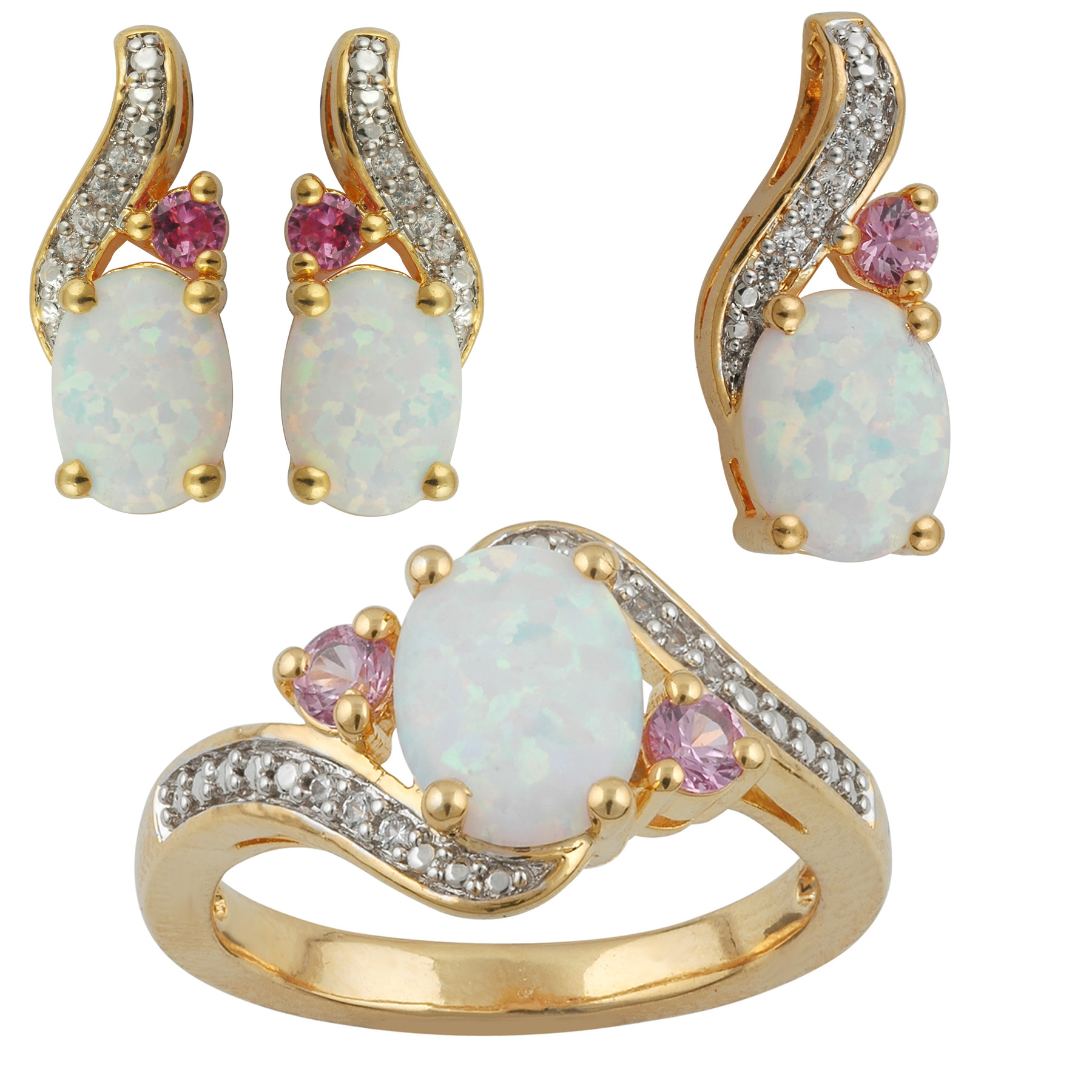 3 Piece Gold over Brass Opal Earring, Pendant and Ring Set