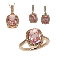 3 Piece Rose Gold Over Brass Halo Morganite Earrings, Ring