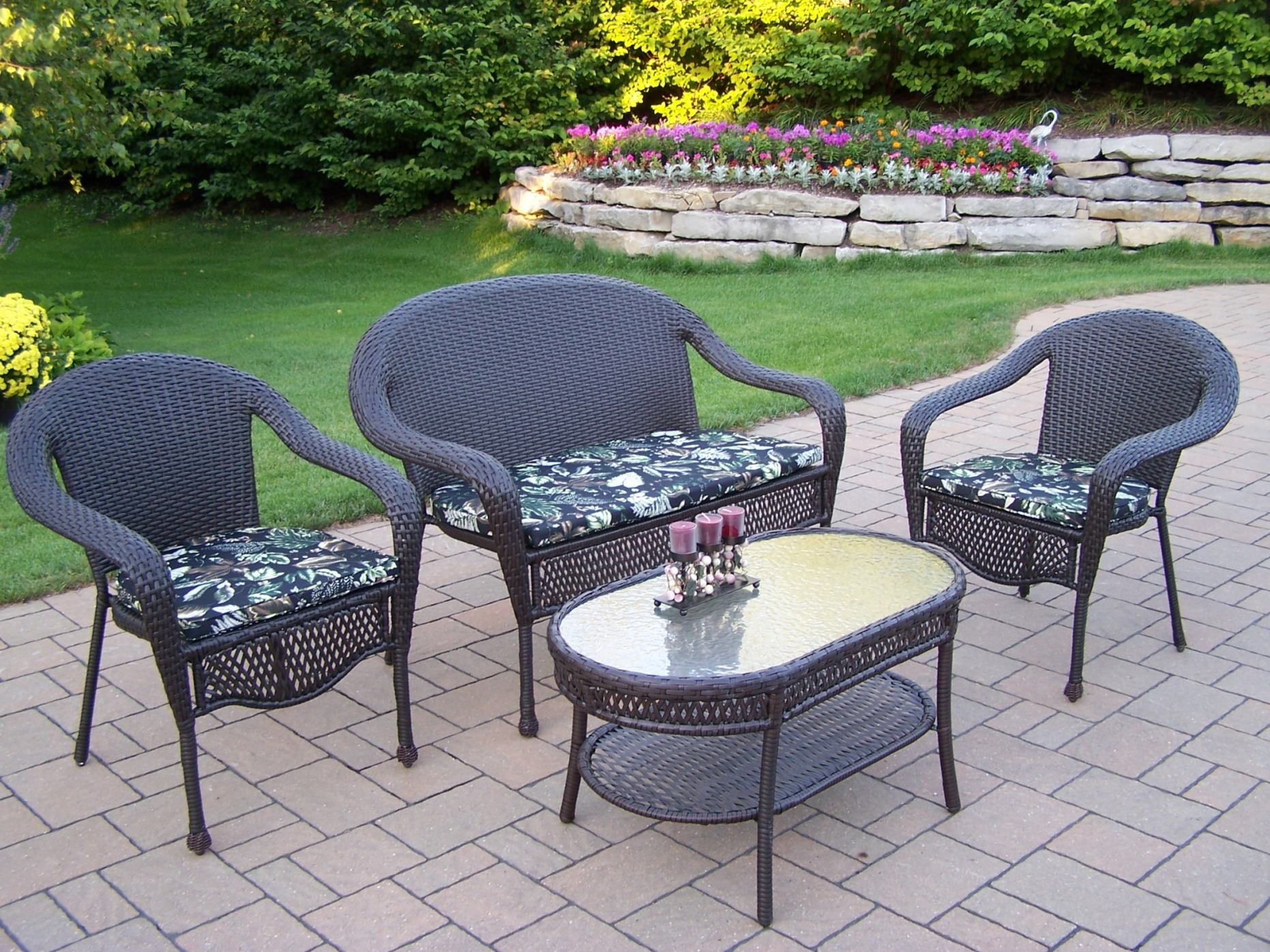 Oakland Living Resin Wicker 4 Pc. Seating Set With
