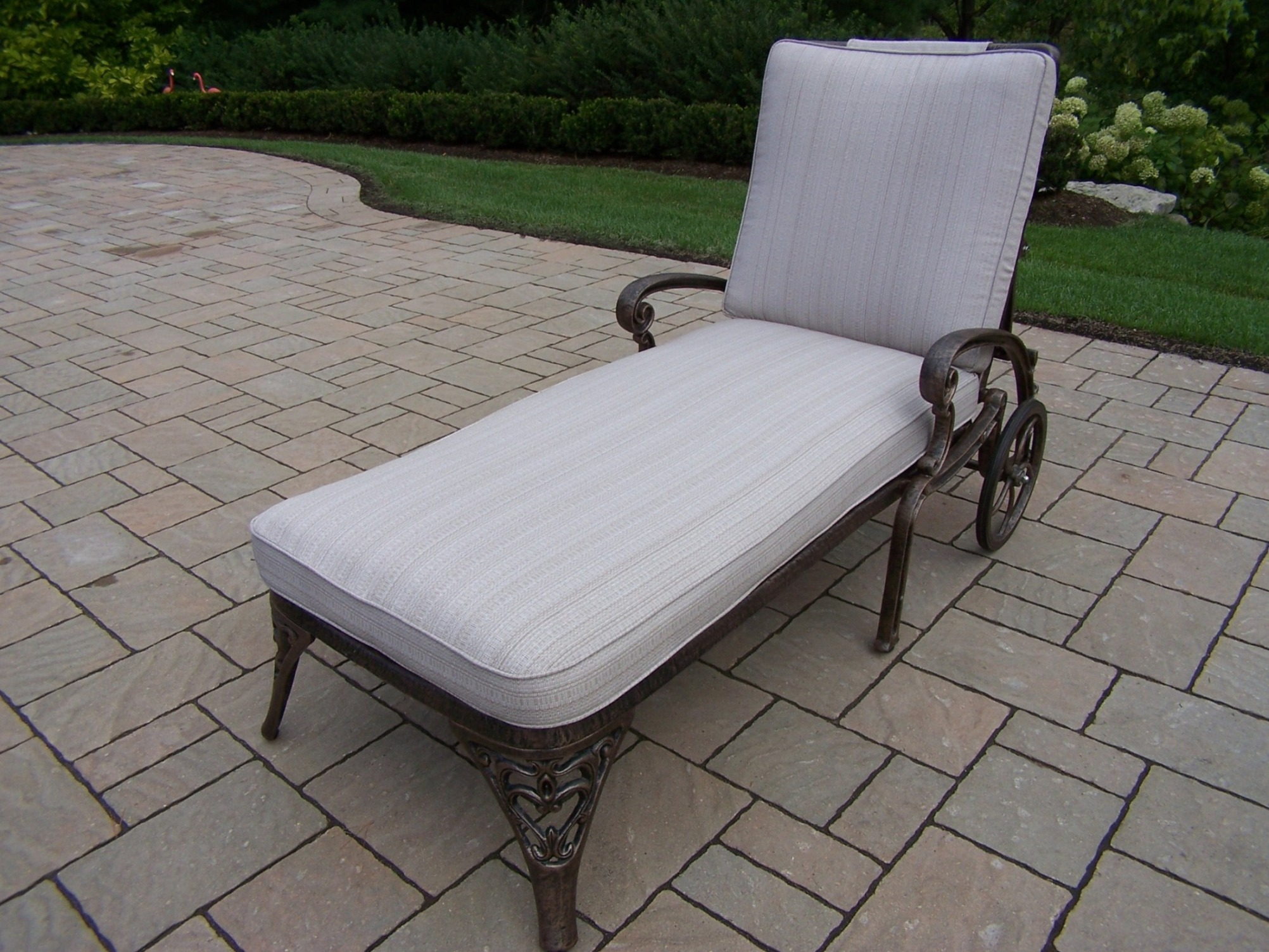 Oakland Living Cast Aluminum Chaise Lounge on Wheels with