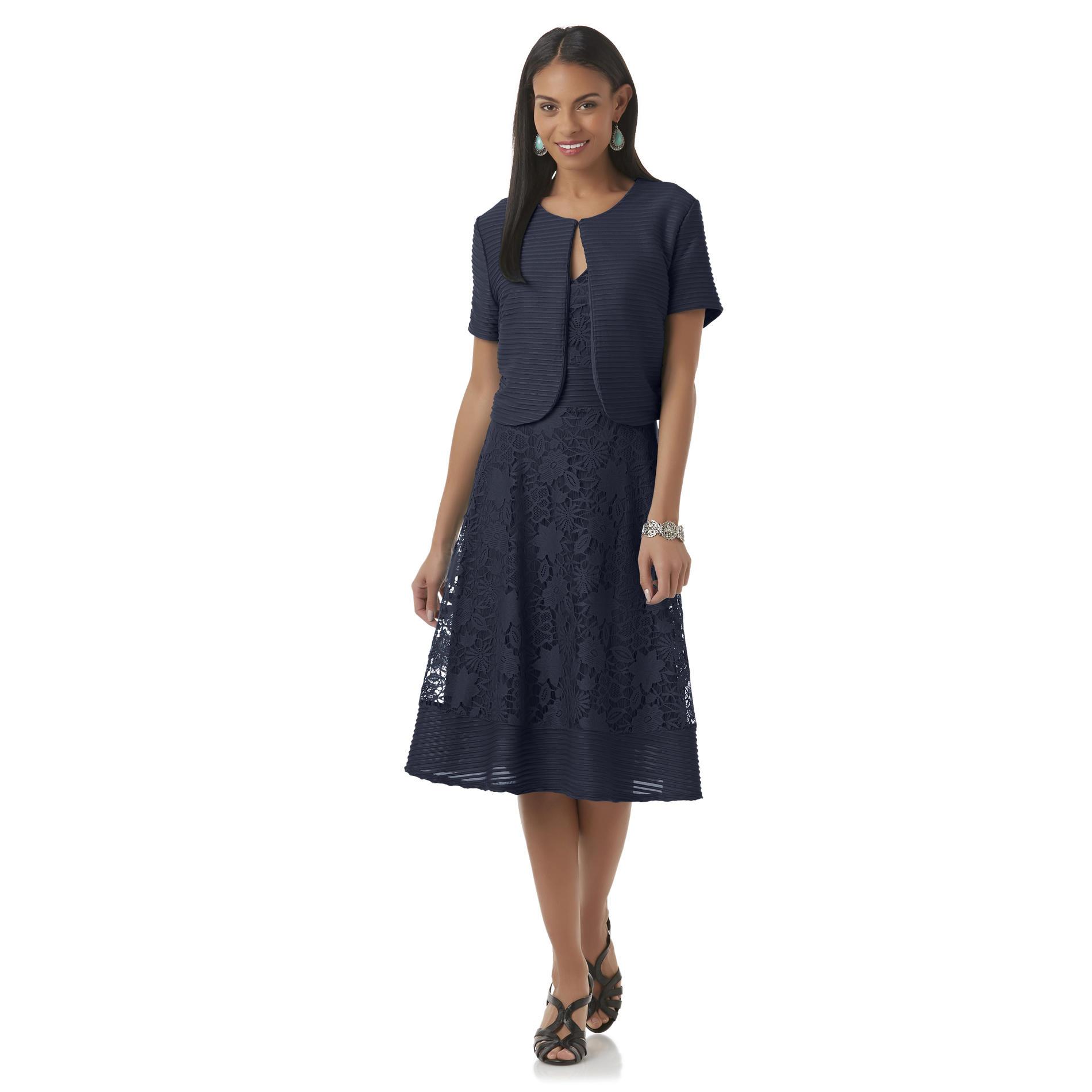 Covington Women39s Lace Fit Flare Dress Shrug Sears
