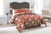 7-piece Jacquard Comforter Set - Burgundy Floral Jacobean