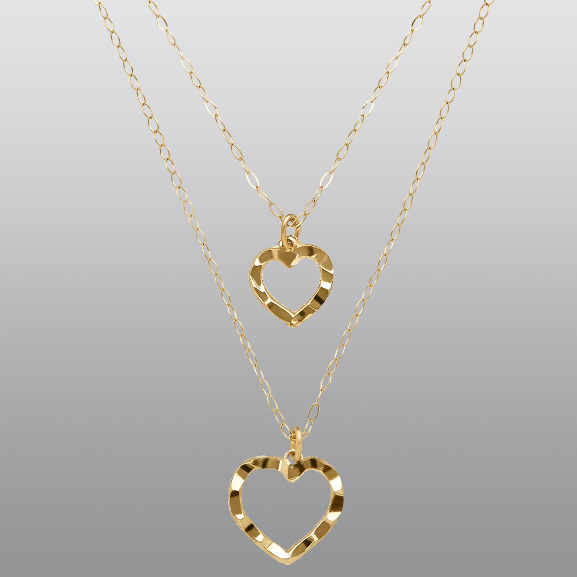 10k Yellow Gold Two Layered Hearts Necklace